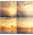 Ocean sunset mosaic backgrounds vector