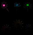 Set colorful fireworks on dark background vector