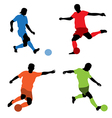 Four soccer players vector