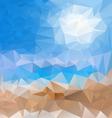 Sea beach blue sky polygonal triangular pattern vector