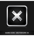 Cancel cross remove icon silver metal vector
