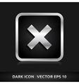 Cancel cross remove icon silver metal vector