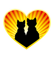 Silhouette of cats in love vector