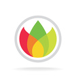 Three color leaves logo template floral ecology or vector