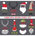 Christmas retro party set - glasses hats lips vector