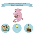 Congratulations birthday with a character pig vector