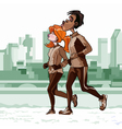 Cartoon man and woman engaged in important jogging vector