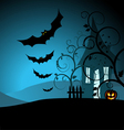 Halloween background with the scary house and bats vector