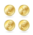 Currency symbols gold coin vector