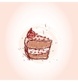 Piece of chocolate cake hand drawn sketch on pink vector