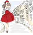 Beautiful fashion girl top model in summer dress vector