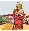 Blonde girl in autumn raincoat vector