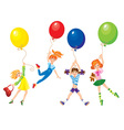 Cute girls flying away on balloons vector