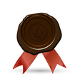 Red wax seal with crown ribbons vector