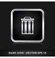 Trash delete remove icon silver metal vector