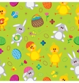 Colored easter eggs bunnies baskets flowers vector
