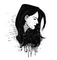 Grunge girl head vector