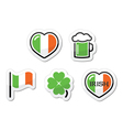 St patricks day icons - irish flag clover green vector