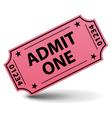 Admit one pink ticket vector