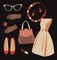 Vintage dresss set vector