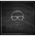 Vintage chalk of male head with sunglasses on vector