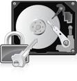 Computer hard drive and lock vector