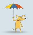 Cartoon dog holding umbrella vector
