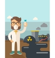 Scientist with mask and test tube vector