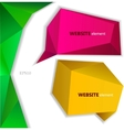 Abstract origami paper banner website element vector