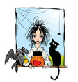 Baby witch with black cat raven and spider vector