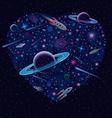 Valentine cosmic heart vector
