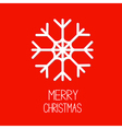 Big snowflake red background merry christmas card vector