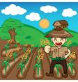 Farmer and rice a harvest cartoon vector