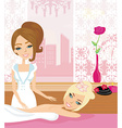 Pretty girl enjoying elegant spa relaxing massage vector