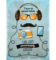 Hipster poster with vintage accessories and items vector