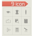Black education icon set vector