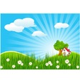Summer landscape with little house vector