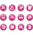 Travel button icons vector