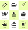 Set of black cutlery and dishes icons vector