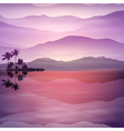 Purple background with sea and palm trees at night vector