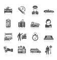Taxi icons black set vector