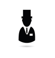Man with hat silhouette vector