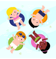 Beautiful smiling summer kids on water vector