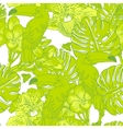 Seamless green pattern with flowers and toucan vector
