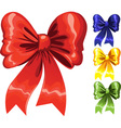 Color festive christmas bow red green blue yellow vector