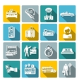 Taxi icons white set vector