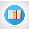 Opened ring notebook flat icon vector