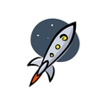 Rocket in space artwork on a white background vector