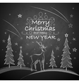 Christmas background with deer vector