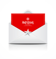Envelope and red card merry christmas vector